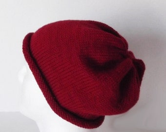 Unisex Slouch Hat with Rolled Brim Hand Knit Merino Wool Cranberry Red