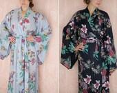 "One custom long ""Noguchi"" kimono robe in a soft cotton fabric. Long kimono robe. Lined & with pockets. Long bridal robe."