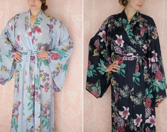"One custom long ""Noguchi"" kimono robe in a soft cotton fabric. Long kimono robe. Lined & with pockets. Long bridal robe."
