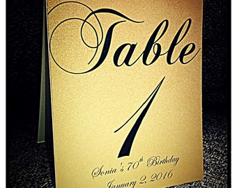 Gold Wedding Table Numbers, Wedding Table Numbers, Self Standing Table Numbers