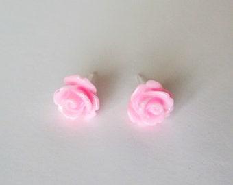 Light Pink Rose Earring, Resin Rose Earrings, Hypoallergenic Earrings, Nylon Posts