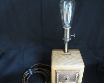 Post Office Box Bank Edison Table Lamp #1 ~ Reclaimed, Nostalgic, Vintage-Style, Steampunk