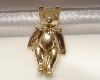 Large Heavy Articulated Solid 14K Gold Teddy Bear Pendant