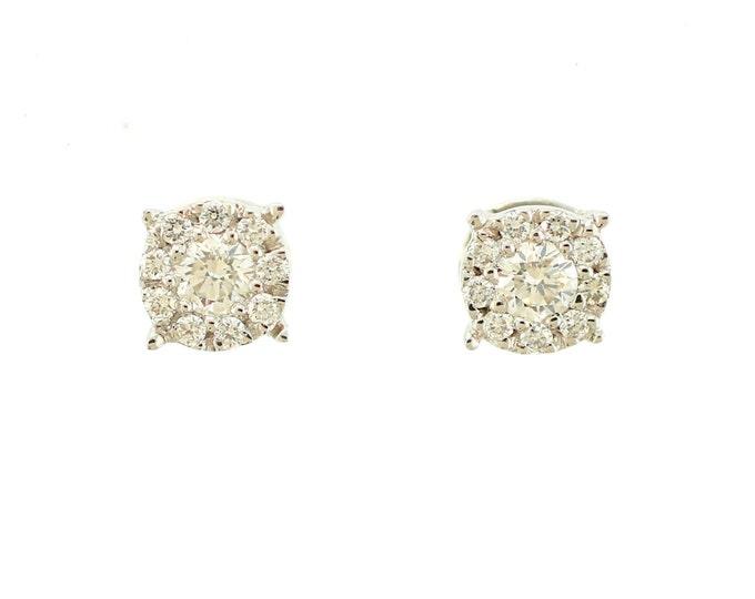 Cluster Diamond Earrings/ Diamond Studs/ Solid 14kt White Gold