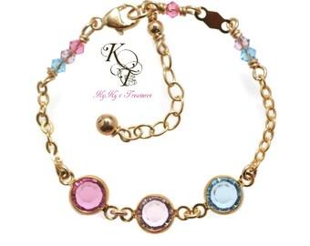 Gold Baby Bracelet, Birthstone Bracelet, Little Girl Bracelet, Girls Jewelry, Custom Jewelry for Baby, Custom Bracelet, Gift for Girl