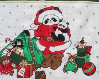 Vintage Christmas Cut and Sew Apron Fabric, Cute Panda Bear Family