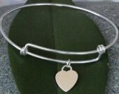 Sterling Silver Bracelet, Adjustable Sterling Silver Bangle, Solid Silver Bangle, Personalised Silver Heart Charm Bracelet. Heart lock Charm