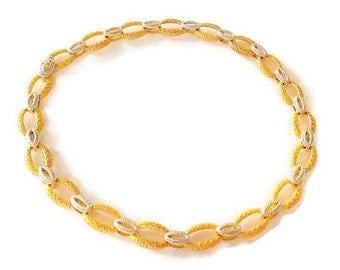 Modern Bright Gold Vermeil and Silver Sterling Necklace