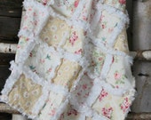 Romantic, vintage inspired soft minky baby girl rag quilt in cream, beige, pink, white with birds and flowers, shabby chic