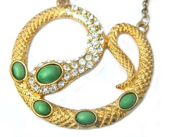Green Jade Snake Necklace Pendant Egyptian Revival Goth Victorian Infinity Snake Rhinestone Faux Jade Snake Jewelry For Women