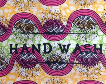 hand printed African cotton laundry bag for hand wash items