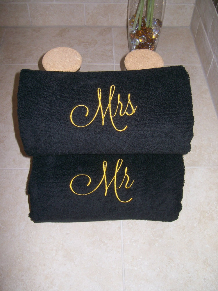 Mr and mrs embroidered bath towels wedding gift by for Mr and mrs spa