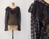 ON SALE 1970s Blouse - 50% OFF Vintage 70s Black Lace Blouse - Barroca Blouse