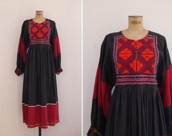 1970s Dress - Vintage 70s Black Afghan Kuchi Dress - Bogemïya Dress