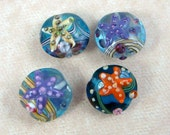 Lampwork Beads, Starfish Lampwork Beads - Assorted Starfish Beads - Qty. 4