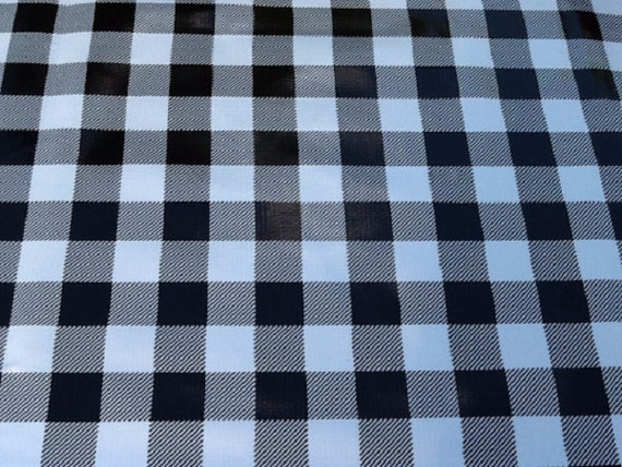 60 Oil Cloth Tablecloth Round Black Cafe Check With