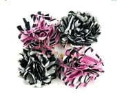 "ON SALE 5% OFF 2"" Silky Satin Mesh Flower - Black and Pink Zebra Print - Print Satin Mesh Flower - Satin Flowers -  Diy Hair Accessories Sup"