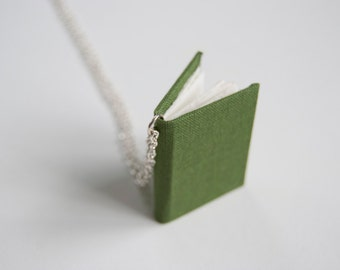 Handmade Book Pendant. Miniature Book Necklace. Tiny Library Pendant. Wearable Book Art. Utilitarian Jewelry. Mini Jewelry. Bookworm gift.