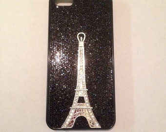 Black sparkle iphone SE, iphone 5 Eiffel Tower case, iPhone 5s
