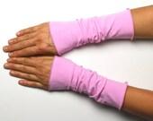 Long mittens 25 cm light hand warmer light hot pink jersey cotton