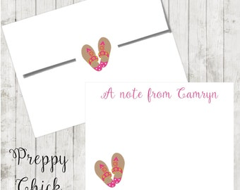 Set of 24-Preppy Notecards, Personalized Flat Note Cards, Preppy Stationery, Tropical, Preppy Sandals, Thank You Cards, Teacher Notes