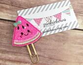 Pink/Gold/Kawaii Watermelon/Sparkle Applique Paper Clip/Journal Marker/Bookmark/Planner Clip