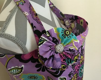 Nursing cover- purple floral print nursing cover with a fabric flower clippie - Ready to ship