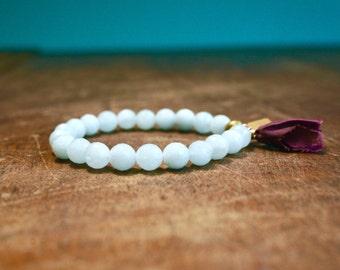 Faceted Aquamarine Mala Tassel Bracelet Japa Meditation Prayer Beads Blue Gemstone Tassel Jewelry Yoga March Birthstone Spiritual Wrist Mala