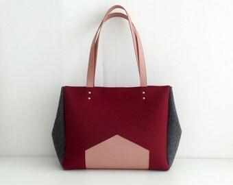 Marsala Gray Pink Felt Leather Handbag