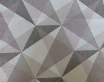 "U S Designer Nate Berkus Grey*pale Pink Geometric Prism Design cotton fabric ~ 54"" x 20"" ~ Home Decor"