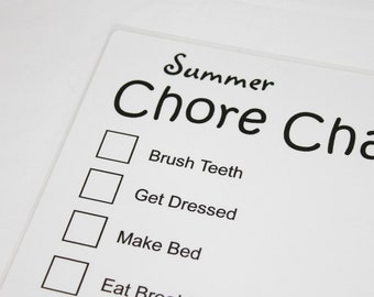 Summer Chore Chart Dry Erase Board - personalize with your own chores