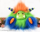 "RESERVED FOR DAN/Megan Yeti monster plush, artist bear, orange, green and blue faux fur, yeti plush, art doll, collectible ""Banjo"""