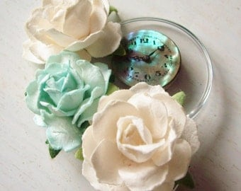 Beautiful Rustic Wedding Steampunk  Vintage Watch Face Ivory and Turquoise Flower Hair Clip