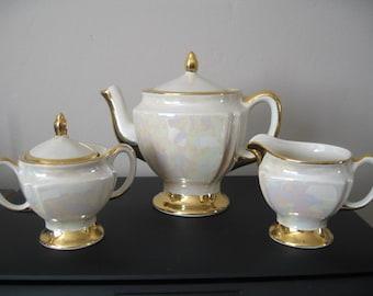 Vintage CG Lusterware Teapot Set With 22K Gold Trim