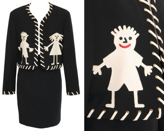 MOSCHINO 1990s Vintage Stickman Skirt Suit Blazer Jacket Pencil Skirt Black Wool Cheap and Chic US Size 4-6 XS-S
