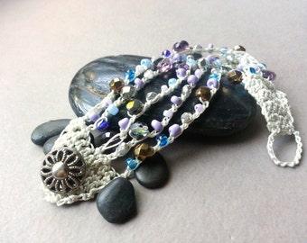 White Blue Lilac Teal Beaded Crochet Cuff Bracelet, Vintage Button, Multistranded Bead Bracelet, Boho Bohemian Chic Jewelry, TamiLopezDesign