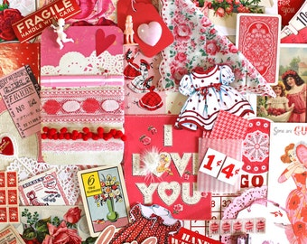Valentines Inspiration Kit*Pink and Red Inspiration Kit*Paper Ephemera and Embellishment Pack*I Love You