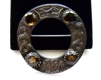 ROBERT ALLISON  Hallmarked Sterling Silver and Gemstone Vintage Brooch Pin  23 grams Edinburgh Scotland
