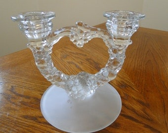 Pressed Glass Candelabra, Grape decorated, Frosted Base, Dual Candleholder, Candlestick