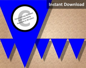 Royal Blue Solid Birthday Party Bunting Pennant Banner Instant Download, Party Decorations