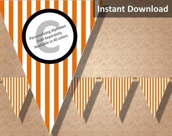 Orange Stripe Halloween Bunting Pennant Banner Instant Download, Party Decorations