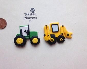 Flatback digger jcb construction or tractor farm embellishments deco