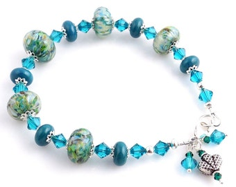 Blue Sterling Silver and Lampwork Beaded Bracelet, Lampwork Bracelet, Crystal Bracelet, Art Glass Jewelry, Lampwork Jewelry, Gifts