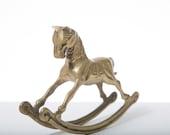 Brass Rocking Horse Mid Century Decor 1960s