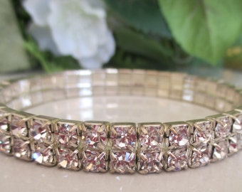 Vintage Double Row Round Rhinestone Bracelet in Silver Setting. Stretch Adjustable (Like a Watch) Silver Link Setting, Bridal, Bridesmaid