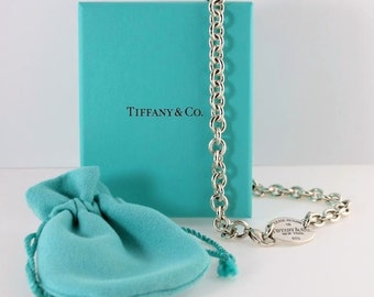 """Vintage Sterling Silver Return to TIFFANY & Co LOGO Luggage TAG Charm Pendant Link Chain 15.5"""" Necklace 52.5gr with Pouch and Jewelry Box"""