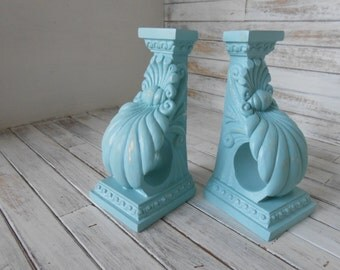 Bookends - Vintage Repurposed Wall Sconce - Finial Bookends- Beach / Cottage Bookends -Painted Corbel Bookends - Wall Sconce Set