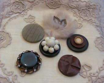 Handmade Vintage Buttons Jewelry Mink Fur Refrigerator Magnet Set of 6 (#07)