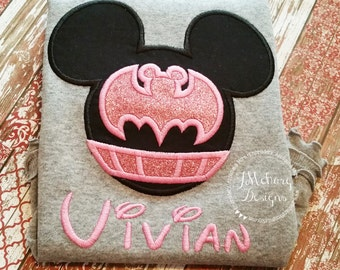 Bat Super hero Miss Mouse Custom embroidered Disney Inspired Vacation Shirt 26