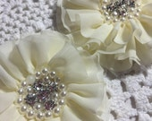 2 Ivory Pearl and Rhinestones Chiffon Flowers 3.5""